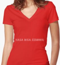 Hasa Diga Eebowai The Book of Mormon Women's Fitted V-Neck T-Shirt