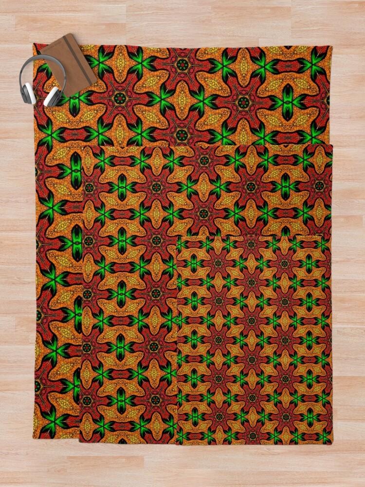Alternate view of Ankara (red green mustard) African print fabric  Throw Blanket