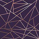Deep Purple and Metallic Rose Gold Geometric Design by Ladyfyre