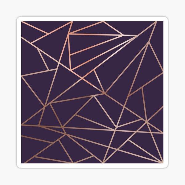 Deep Purple and Metallic Rose Gold Geometric Design Sticker