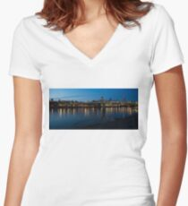 London Skyline Reflecting in the Thames River at Night Women's Fitted V-Neck T-Shirt