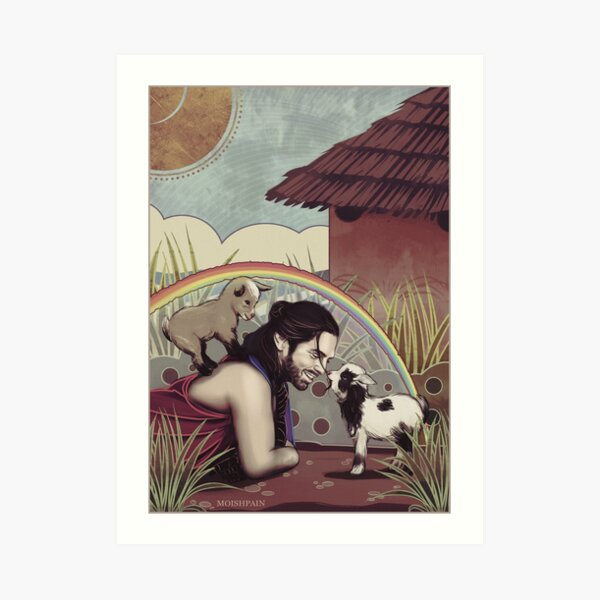 Happiness and baby goats Art Print