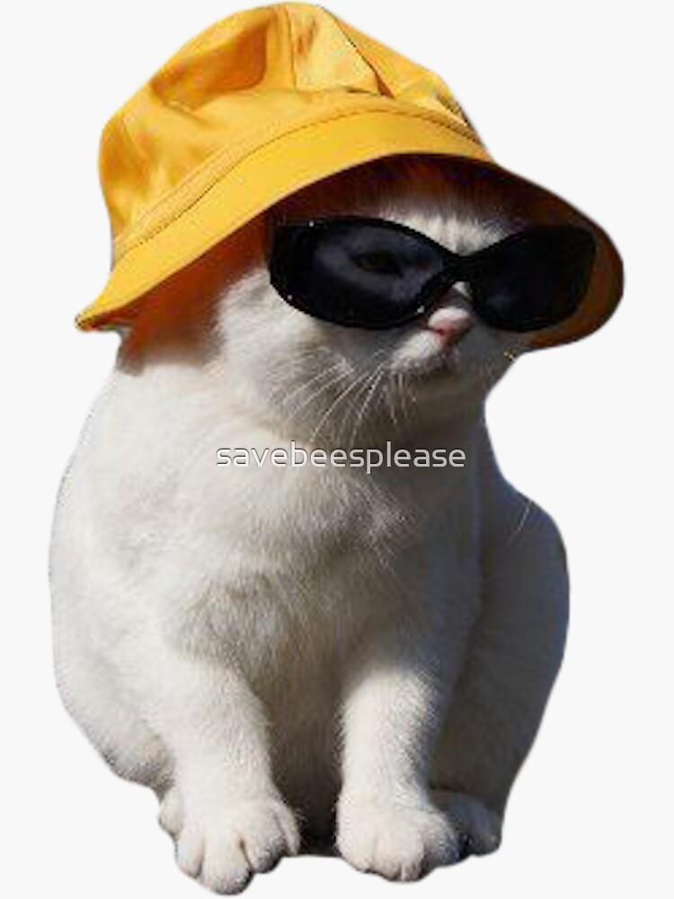 bucket hat cat by savebeesplease