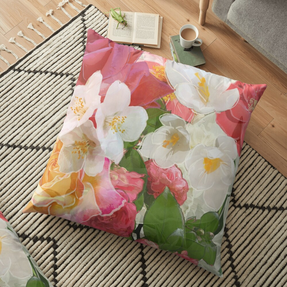 Alhambra Flowers Floor Pillow