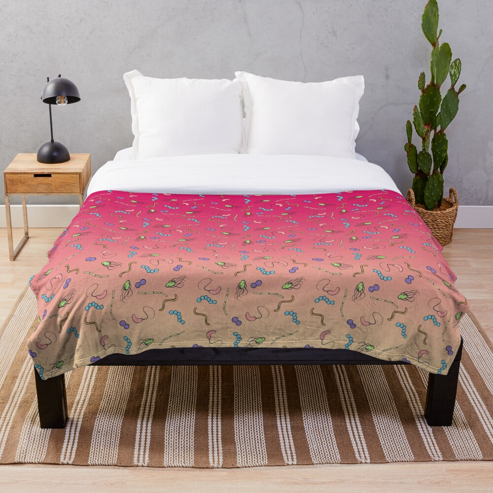 Sunset ombre bacteria Throw Blanket