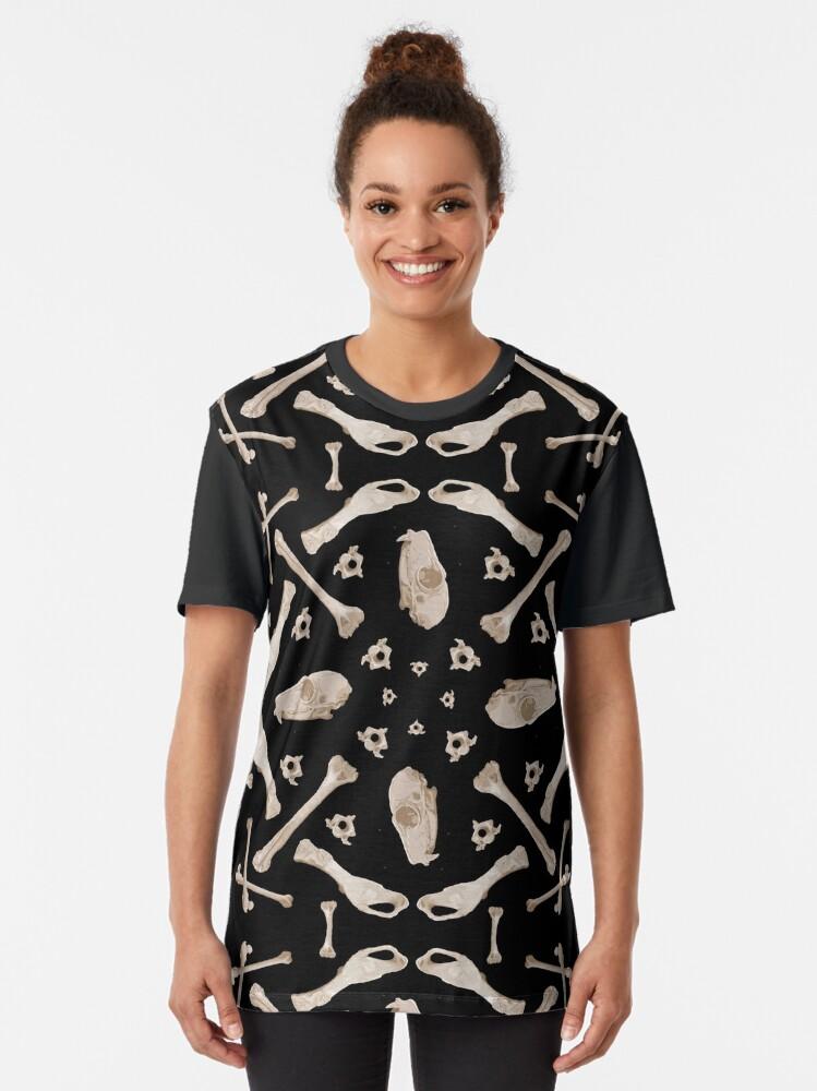 Alternate view of Ruffed Lemur bones Graphic T-Shirt
