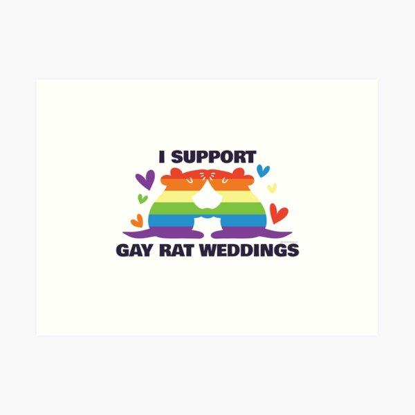 Ich unterstütze homosexuelle Ratten-Hochzeiten - homosexuellen Ratten-Hochzeits-Stolz Kunstdruck
