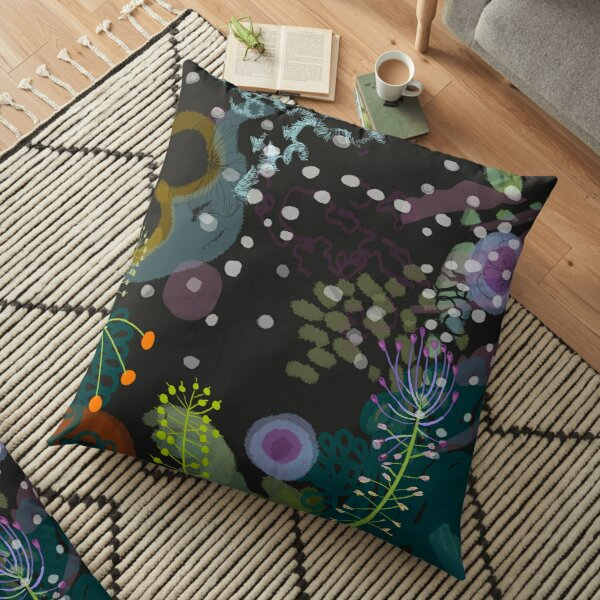 Flower and Snow Shadows Pattern Floor Pillow