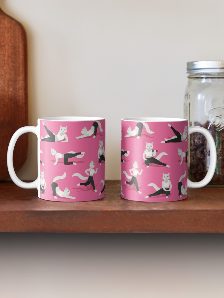 Alternate view of Fitness Cats on pink Mug