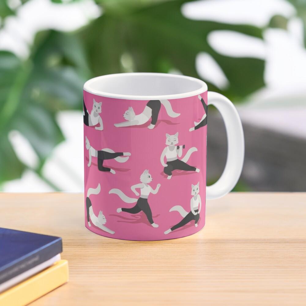 Fitness Cats on pink Mug