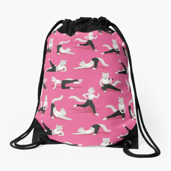 Fitness Cats on pink Drawstring Bag