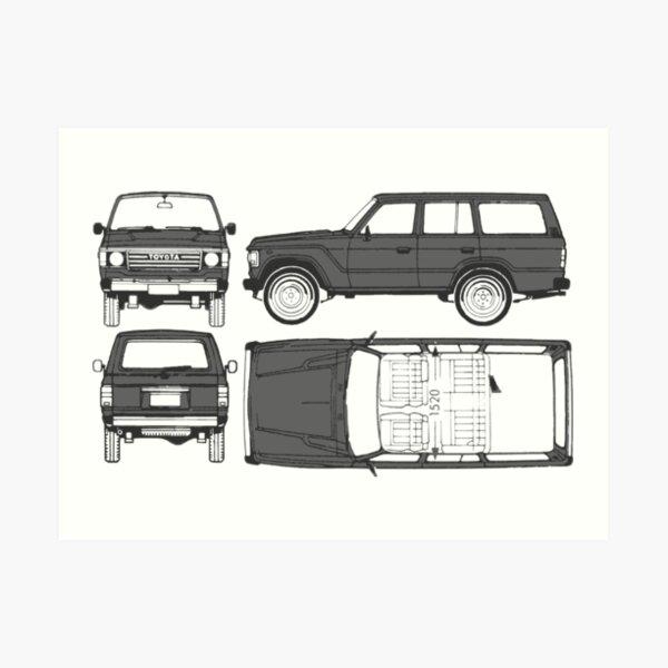 FJ60 Land Cruiser Blueprint  Art Print