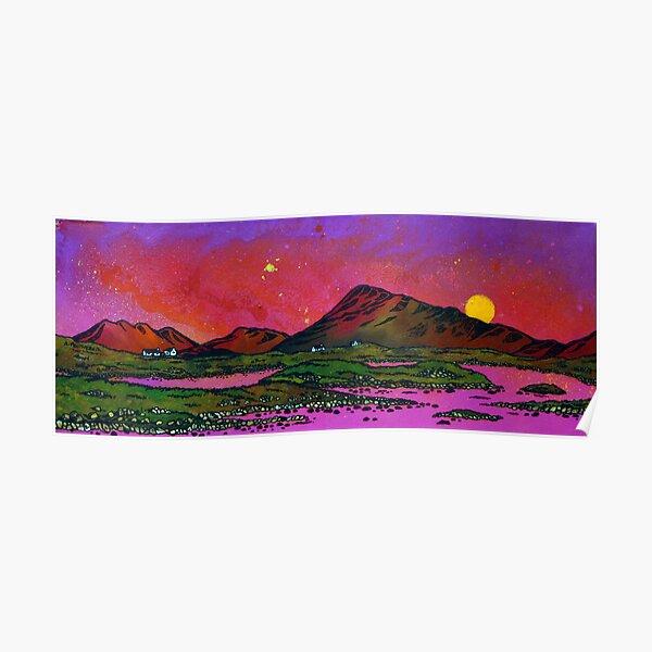 North Uist Pink Sunset, Scottish Western Isles. Poster