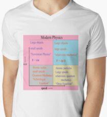 Camiseta de cuello en V #Modernidad #física. Newtoniana, #mecánica # relativista, ecuación de Schrodinger, Dirac
