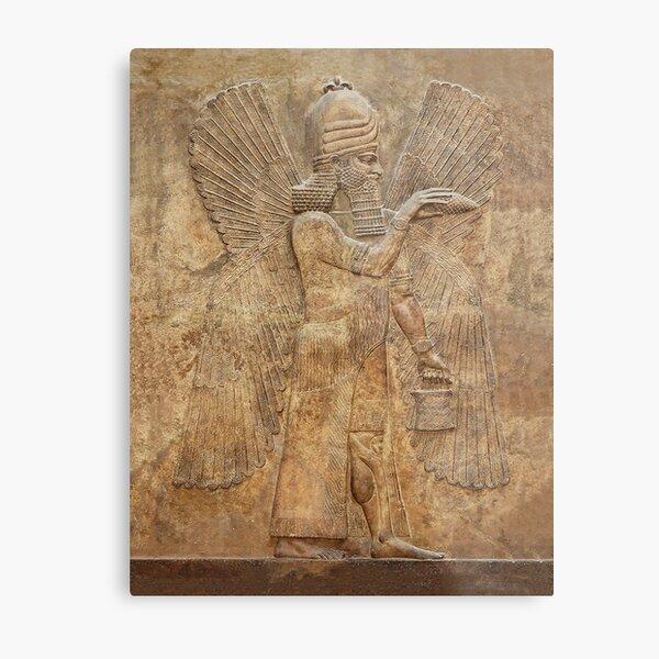 Assyrian Winged Genie/Apkallu (Palace of King Sargon II) Babylon/Sumerian/Anunnaki  Metal Print
