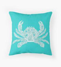 Aqua Blue with White Crab Throw Pillow