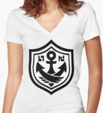SquidForce White Anchor Tee Women's Fitted V-Neck T-Shirt