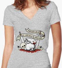 The Rabbit of Caerbannog Women's Fitted V-Neck T-Shirt