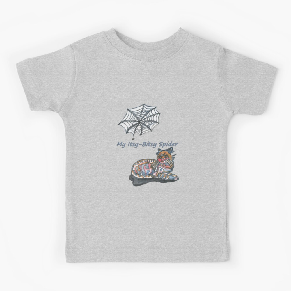 My Itsy-Bitsy Spider with colored cat watercolor nursery rhyme Kids T-Shirt
