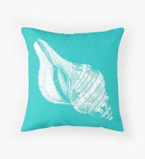 Aqua Blue with White Shell Throw Pillow