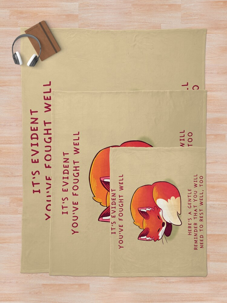 """Alternate view of """"It's Evident You've Fought Well"""" Sleepy Fox Throw Blanket"""