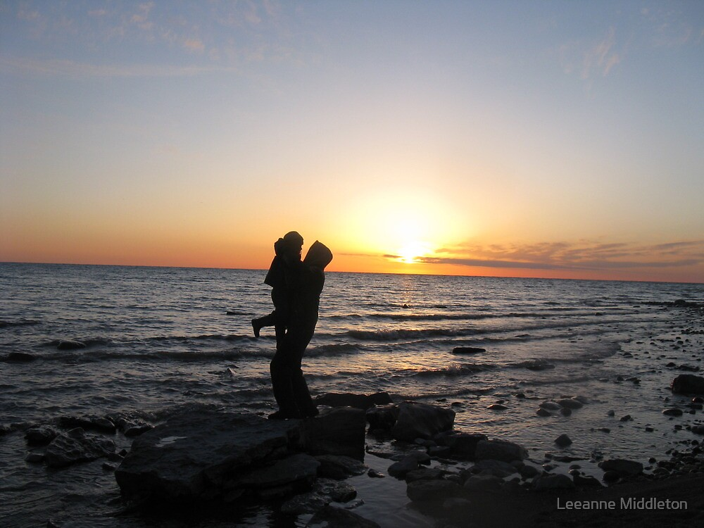 father son silhouette by Leeanne Middleton