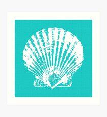 Aqua Blue with White Clam Shell Art Print