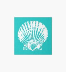 Aqua Blue with White Clam Shell Art Board