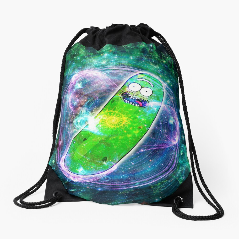 Pickle Rick in Space | Rick and Morty | Flower of Life Drawstring Bag