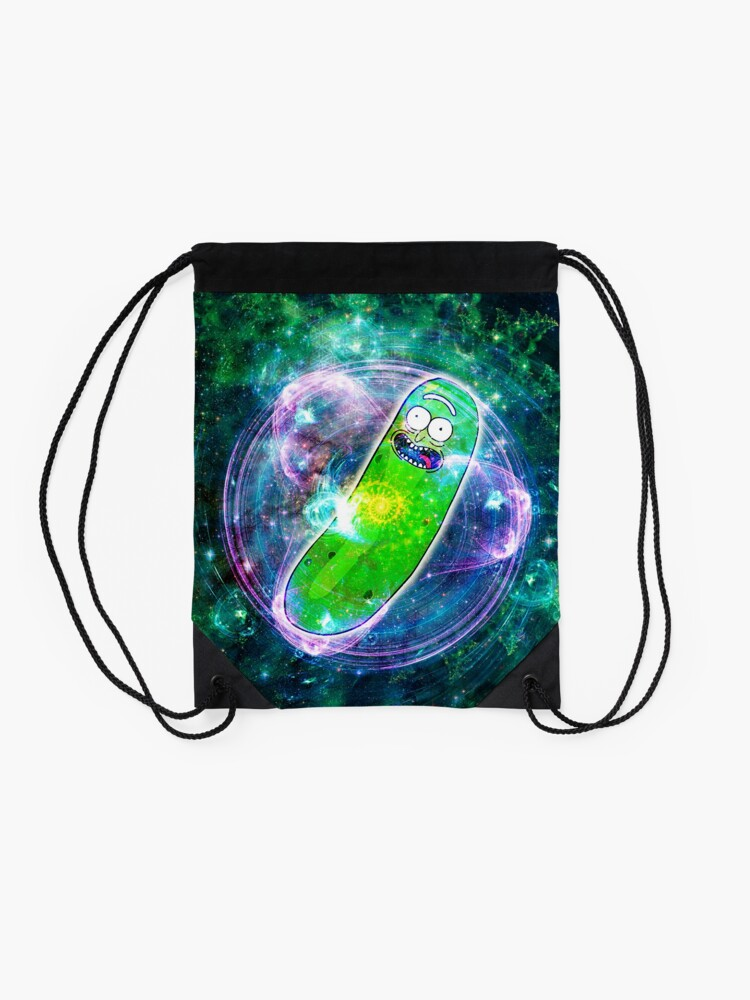 Alternate view of Pickle Rick in Space | Rick and Morty | Flower of Life Drawstring Bag