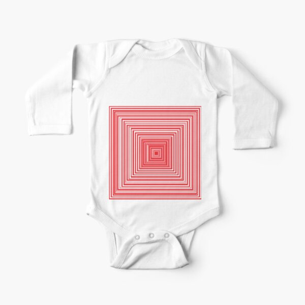 Grid of nested red squares Long Sleeve Baby One-Piece