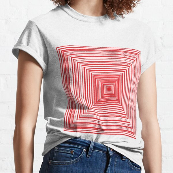 Grid of nested red squares Classic T-Shirt