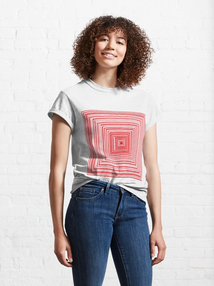 Alternate view of Grid of nested red squares Classic T-Shirt