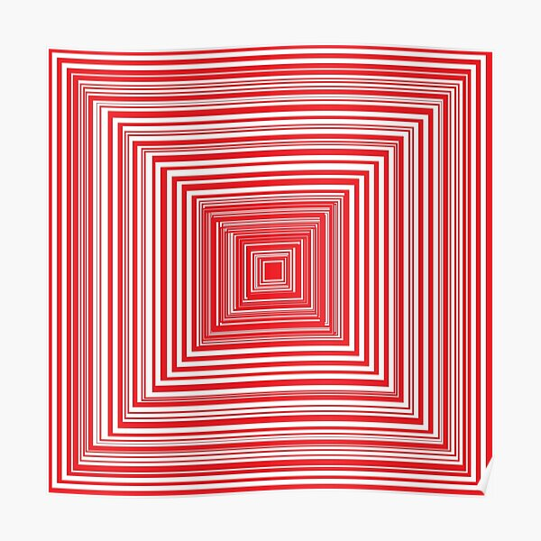 Grid of nested red squares Poster