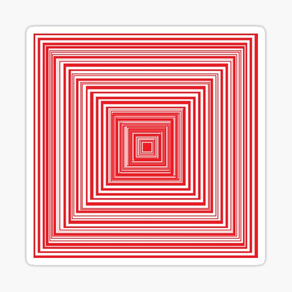 Grid of nested red squares Sticker