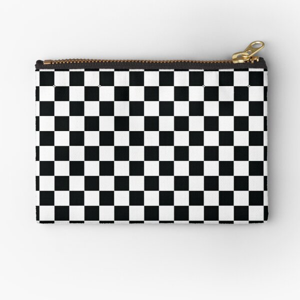 Black + White Checkerboard Zipper Pouch