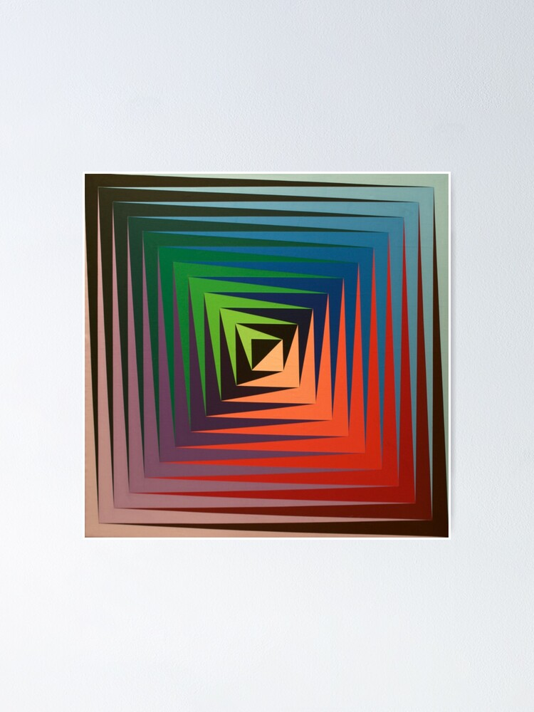 Alternate view of Victor #Vasarely, was a Hungarian-French #artist, who is widely accepted as a #grandfather and leader of the #OpArt movement Poster