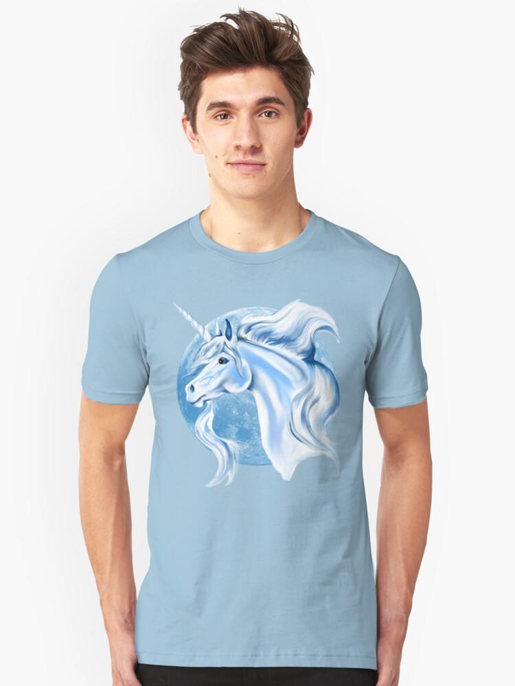 Sky Blue and White Unicorn Unisex T-Shirt Front