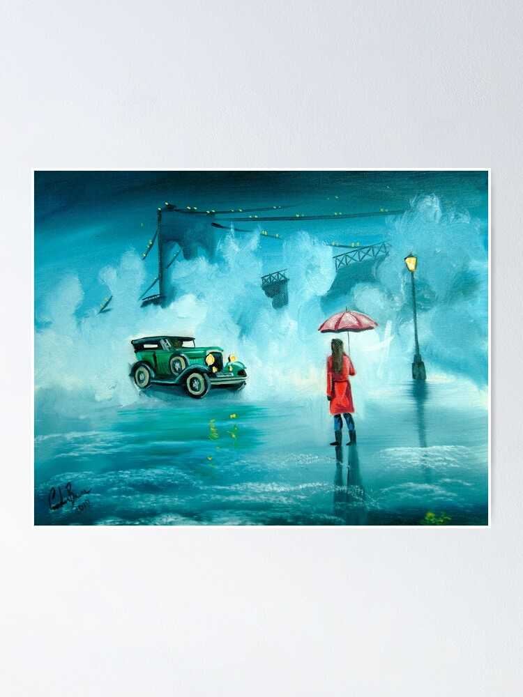 Alternate view of THE RENDEZVOUS rainy day red umbrella oil painting Poster
