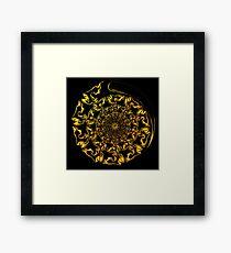 Gold Spiral Fractal Framed Art Print