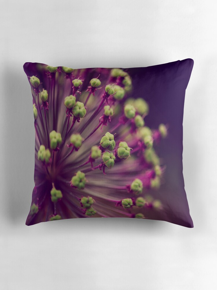 Purple Green Throw Pillow :