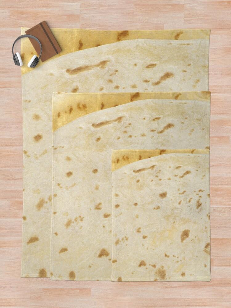 Alternate view of Flour Tortilla Burrito Taco Pattern  Throw Blanket