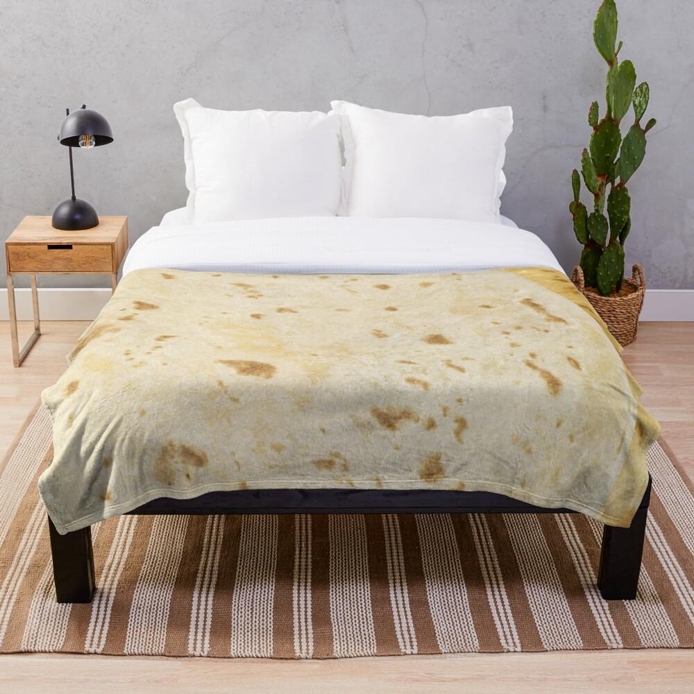 Flour Tortilla Burrito Taco Pattern  Throw Blanket