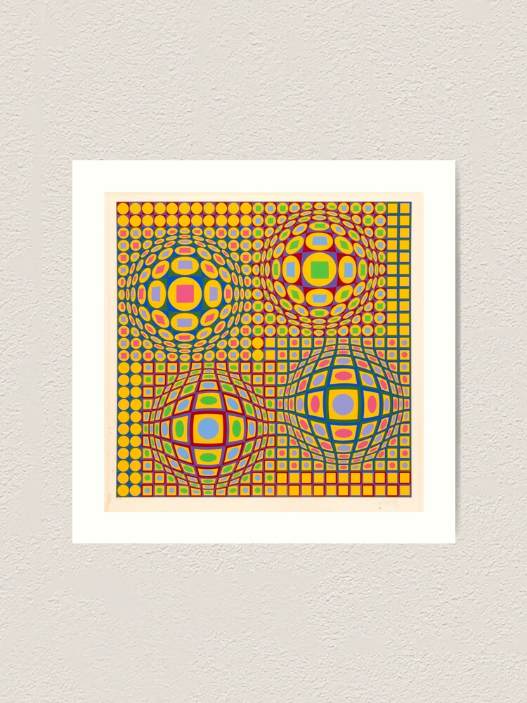 Alternate view of Op Art. Victor #Vasarely, was a Hungarian-French #artist, who is widely accepted as a #grandfather and leader of the #OpArt movement Art Print