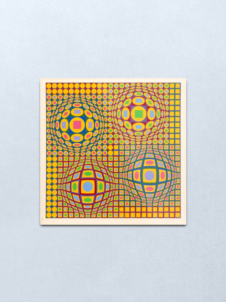 Alternate view of Op Art. Victor #Vasarely, was a Hungarian-French #artist, who is widely accepted as a #grandfather and leader of the #OpArt movement Metal Print