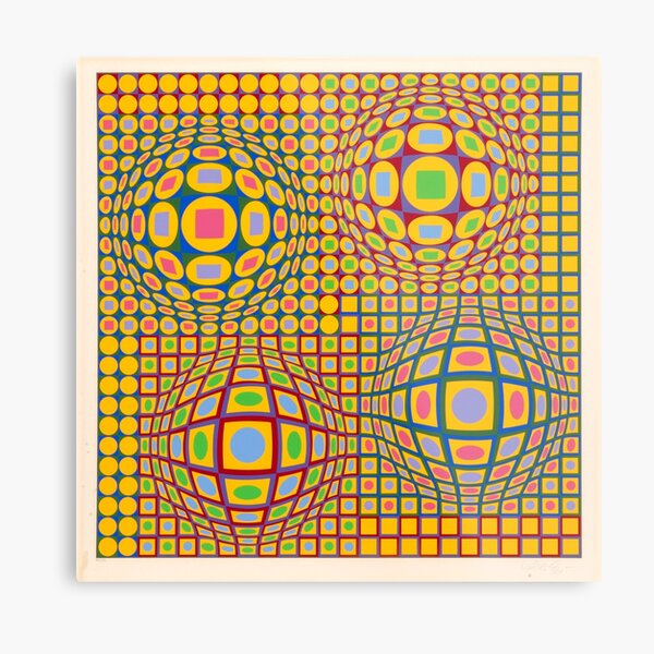 Op Art. Victor #Vasarely, was a Hungarian-French #artist, who is widely accepted as a #grandfather and leader of the #OpArt movement Metal Print