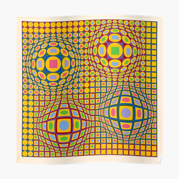 Op Art. Victor #Vasarely, was a Hungarian-French #artist, who is widely accepted as a #grandfather and leader of the #OpArt movement Poster