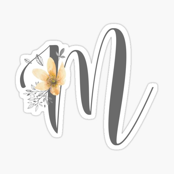 Monogramme M Fleur Jaune Sticker