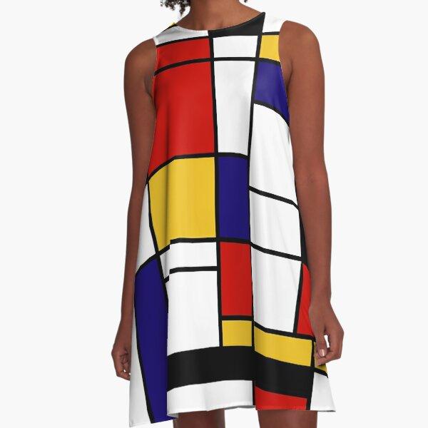 De Stijl # 2 (Mondrian Inspired) Vestido acampanado