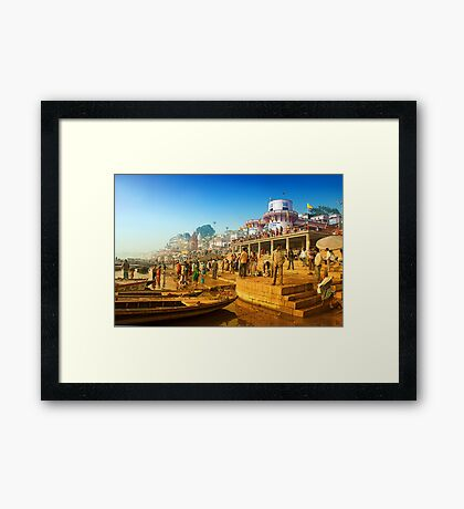 Life At Varanasi Ghat Framed Print